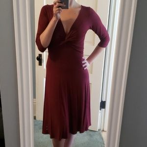 3/4 sleeve red knit dress by venus small